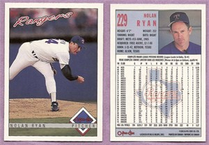 Nolan Ryan Texas Rangers 1993 OPC card #229 MINT