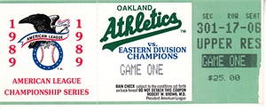 Oakland A's 1989 American League Championship Series Game 1 ticket stub