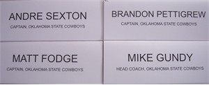 Oklahoma State 2008 Holiday Bowl luncheon placards (Mike Gundy Matt Fodge Brandon Pettigrew Andre Sexton)