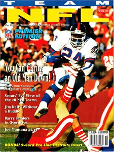 Ottis (O.J.) Anderson New York Giants 1991 Team NFL magazine