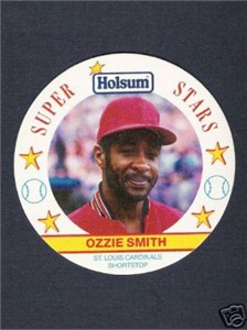 Ozzie Smith Cardinals 1989 Holsum disc