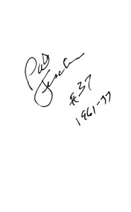 Pat Fischer autographed index card inscribed #37 1961-77
