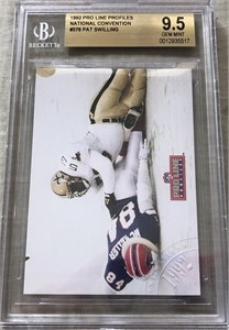 Pat Swilling New Orleans Saints 1992 Pro Line Profiles #376 rare error card graded BGS 9.5 GEM MINT
