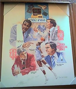Patrick Ewing & John Thompson (Georgetown) autographed Final Four lithograph