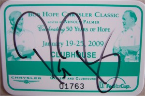 Pat Perez autographed 2009 Bob Hope Chrysler Classic badge