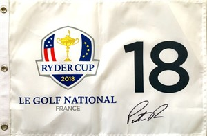 Patrick Reed autographed 2018 Ryder Cup golf pin flag