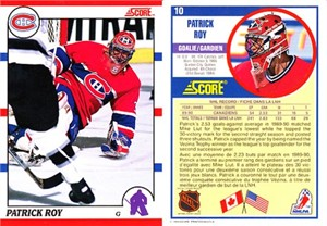 Patrick Roy 1990-91 Score Canadian hockey promo card #10 RARE has front photo variation