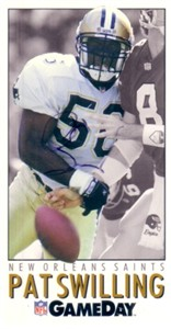 Pat Swilling autographed New Orleans Saints 1992 GameDay promo card