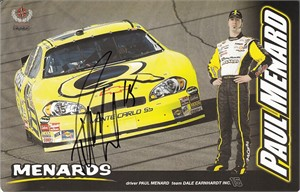 Paul Menard autographed NASCAR photo card