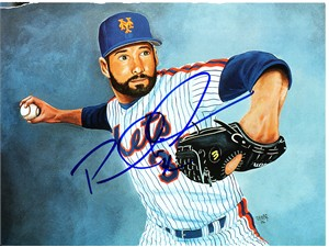 Paul Wilson autographed New York Mets Beckett magazine inside cover artwork