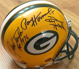 Donny Anderson Paul Hornung Jim Taylor autographed Green Bay Packers full size authentic Pro Line helmet