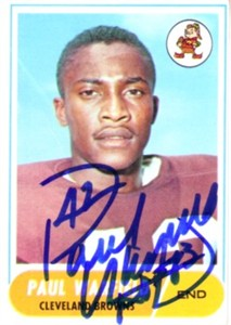 Paul Warfield autographed Cleveland Browns 1968 Topps card
