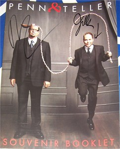 Penn and Teller autographed Living in Vegas Live at the Rio program