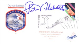 Peter Ueberroth autographed 1984 Los Angeles Olympics baseball cachet envelope