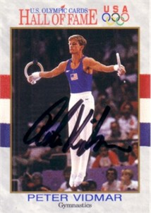 Peter Vidmar autographed U.S. Olympic Hall of Fame card