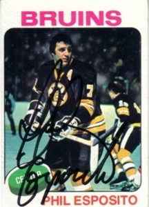 Phil Esposito autographed Boston Bruins 1975-76 Topps card