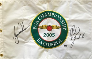 Phil Mickelson & Tiger Woods autographed 2005 PGA Championship embroidered canvas golf pin flag