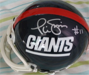 Phil Simms autographed New York Giants throwback mini helmet