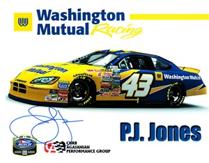 P.J. Jones autographed NASCAR 8x10 photo card
