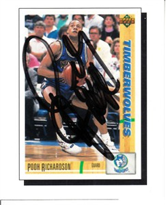 Pooh Richardson autographed Minnesota Timberwolves 1991-92 Upper Deck card sheet cut