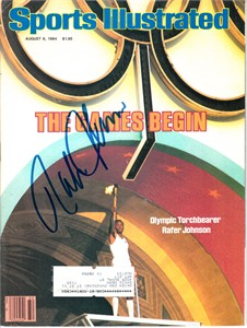 Rafer Johnson autographed 1984 Olympics Sports Illustrated