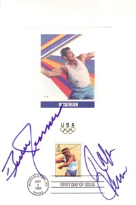Rafer Johnson & Bruce Jenner autographed decathlon 1996 Olympic USPS First Day of Issue souvenir card sheet