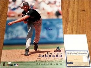 Randy Johnson autographed 1999 Arizona Diamondbacks 16x20 Cy Young poster size photo inscribed Big Unit (Steiner)