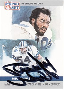Randy White autographed Dallas Cowboys 1990 Pro Set Super Bowl MVP card