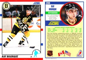 Ray Bourque 1990-91 Score American hockey promo card #200 RARE no front photo variation