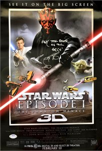 Ray Park autographed Star Wars Episode I The Phantom Menace 3D movie poster inscribed Darth Maul