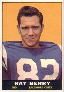 Raymond Berry Baltimore Colts 1961 Topps card (trimmed)