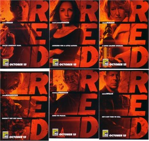 RED movie 2010 Comic-Con EXCLUSIVE promo card set (6)