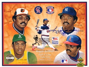Reggie Jackson autographed 1993 Baseball Hall of Fame Induction Upper Deck card sheet