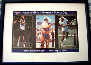 Rebecca Lobo Liz Masakayan Venus Williams autographed poster matted & framed