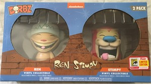 Ren and Stimpy Funko Dorbz with 2018 San Diego Comic-Con exclusive sticker MINT