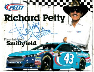 Richard Petty autographed Smithfield 8x10 photo card