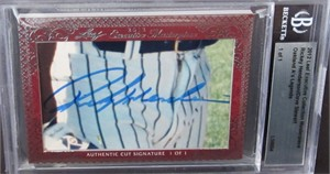 Rickey Henderson & Dave Stewart certified autograph 2012 Leaf Executive Masterpiece Dual Cut Signature card #1/1