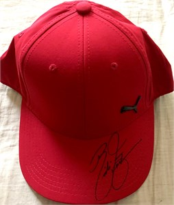 Rickie Fowler autographed forest green Puma golf cap or hat
