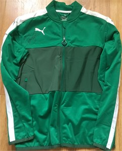 Rickie Fowler autographed Puma green fleece golf jacket