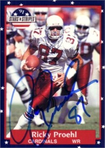 Ricky Proehl autographed Cardinals 1991 Fleer Stars and Stripes card
