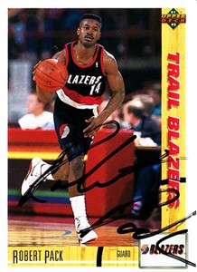 Robert Pack autographed Portland Trail Blazers 1991-92 Upper Deck Rookie Card