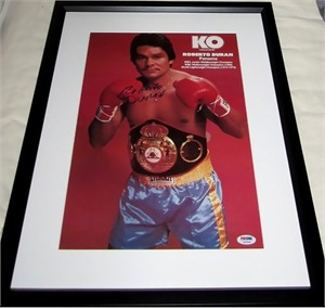 Roberto Duran autographed KO magazine boxing poster matted & framed PSA/DNA