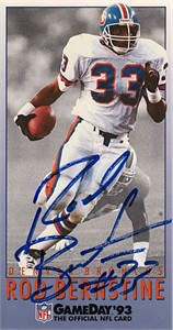 Rod Bernstine autographed Denver Broncos 1993 NFL GameDay card