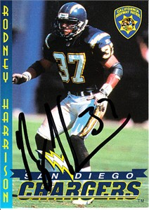 Rodney Harrison autographed 1997 San Diego Chargers Police card