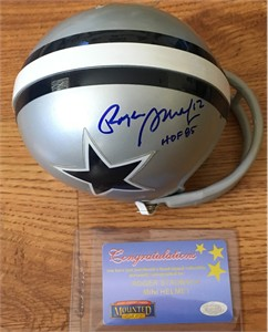 Roger Staubach autographed Dallas Cowboys Riddell throwback mini helmet inscribed HOF 85 (Mounted Memories)