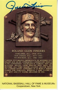Rollie Fingers autographed Baseball Hall of Fame plaque postcard (JSA)