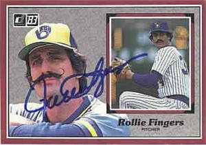 Rollie Fingers autographed Milwaukee Brewers 1983 Donruss jumbo card