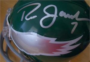 Ron Jaworski & Harold Carmichael autographed Philadelphia Eagles throwback mini helmet