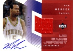 Ron Mercer certified autograph Indiana Pacers card with jersey swatch #/275