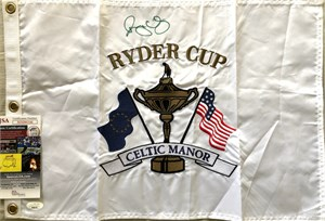 Rory McIlroy autographed 2010 Ryder Cup Celtic Manor embroidered golf pin flag